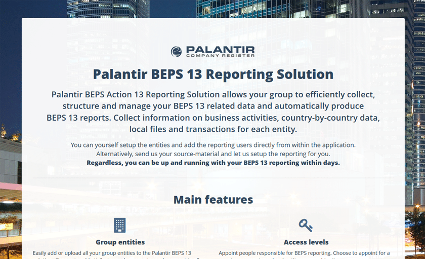 Palantir Launches A Beps Action 13 Solution Blika